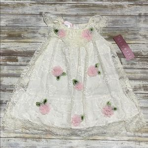 🆕Biscotti Ivory Floral Accent Ruffle Collar Dress